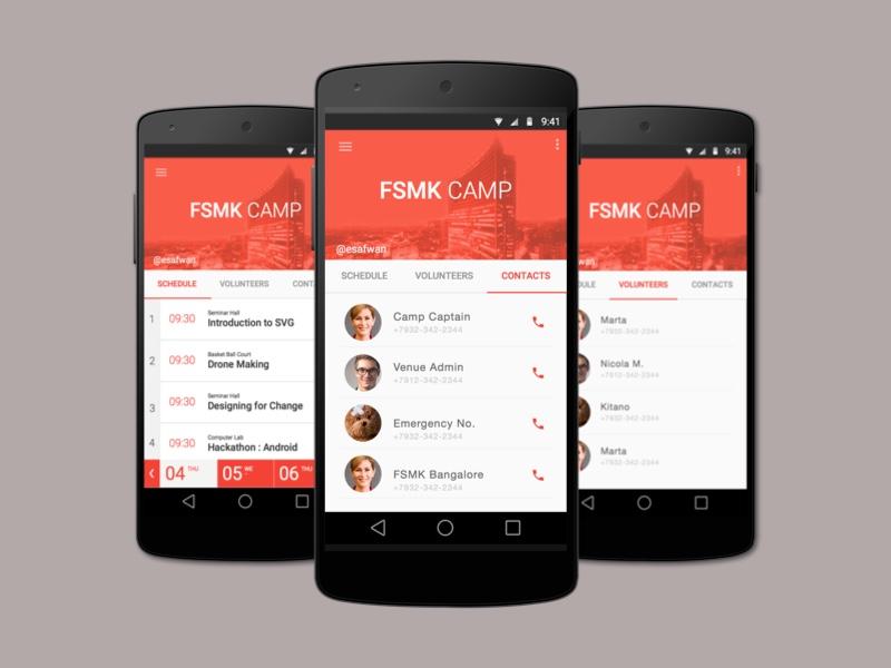 Image illustrant des smartphones avec une interface graphique Materiel Design