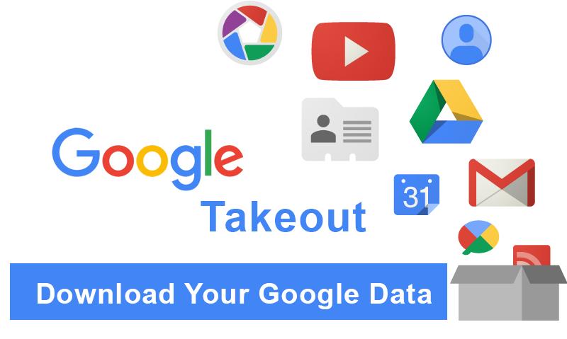 Logo Google TakeOut avec les logos des services Google