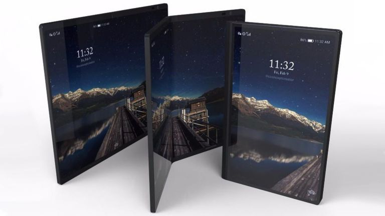 Photo d'un smartphone Galaxy X pliable posé sur une table