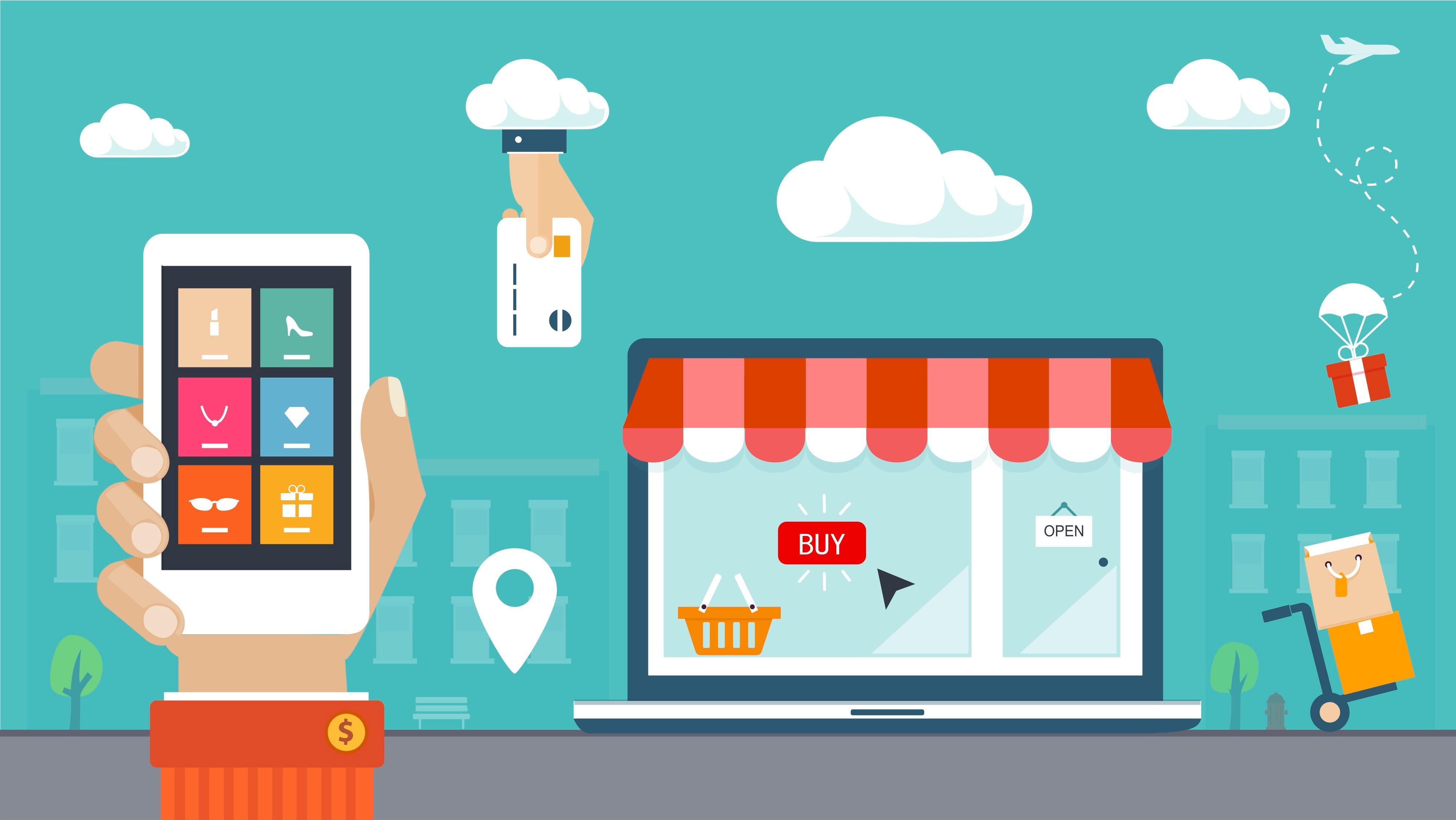 Image illustrant un téléphone au premier plan et une boutique au second plan