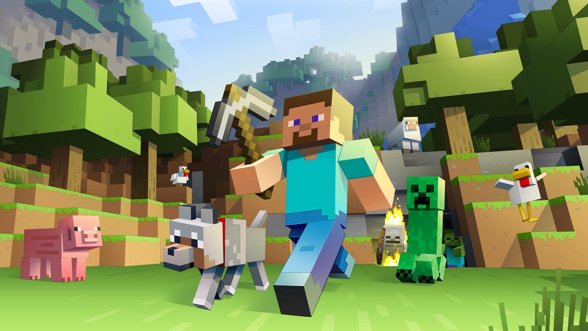 Image illustrant deux petits bonhommes du jeu minecraft.