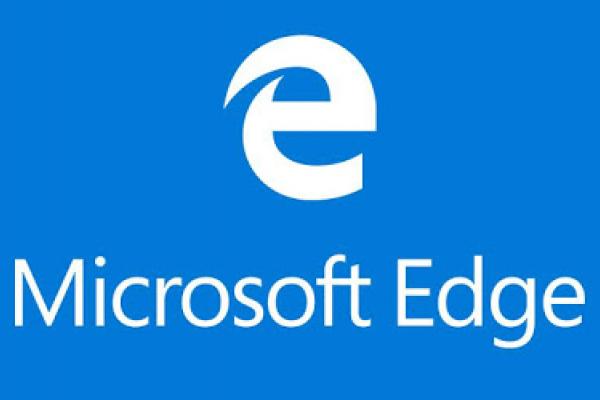 Logo Microsoft Edge blanc sur fond bleu