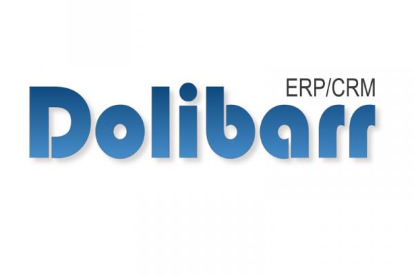 Logo de l'application web ERP CRM. Caractères bleus sur fond blanc.