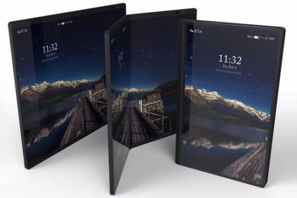 Photo d'un smartphone Galaxy X pliable posé sur une table