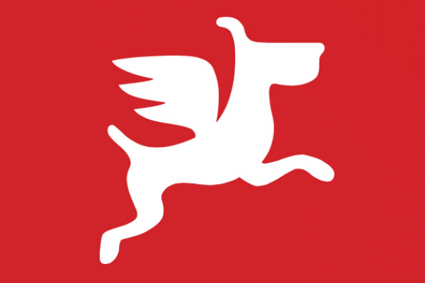Logo du site Dogfidelity. Chien blanc sur fond rouge.