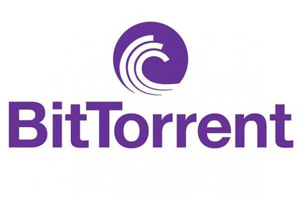 Logo de BitTorrent de couleur violet sur fond blanc