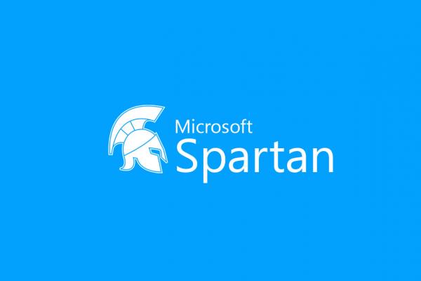 Logo Microsoft Spartan blanc sur fond bleu