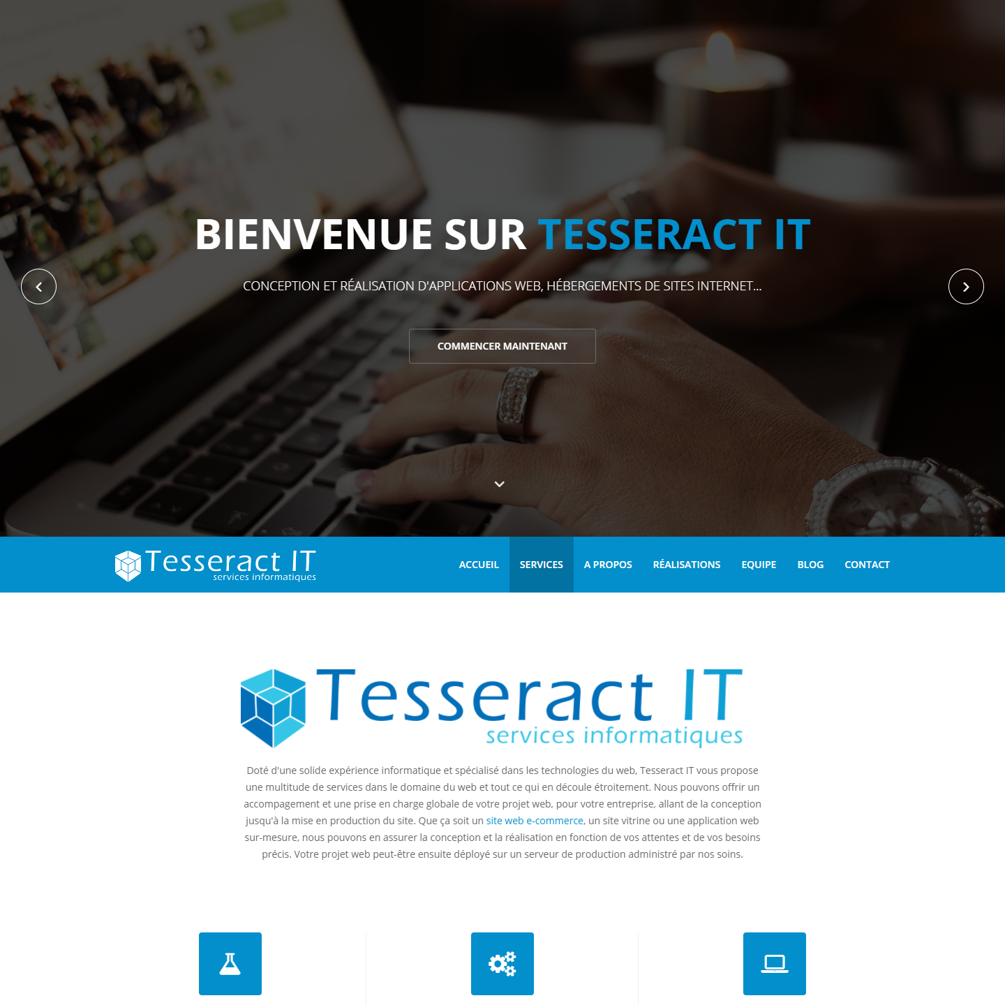 Capture du projet web Tesseract IT - services informatiques
